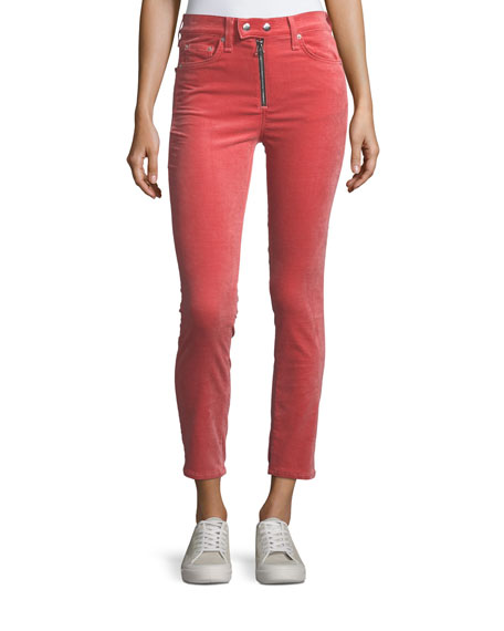 rag & bone/JEAN Dojo High-Rise Stretch-Velvet Cigarette-Leg Jeans