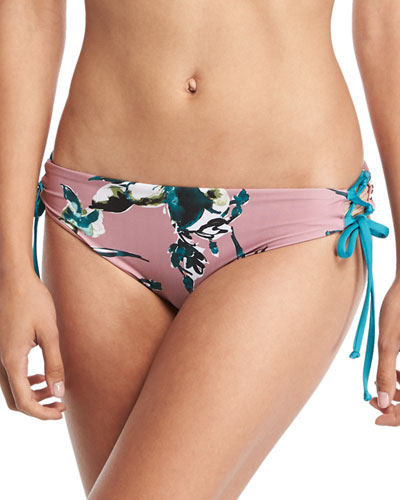 Watercolor Floral-Print Lace-Sides Swim Bottoms
