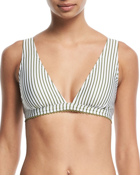 Splendid Picturesque Striped Triangle Swim Top and Matching