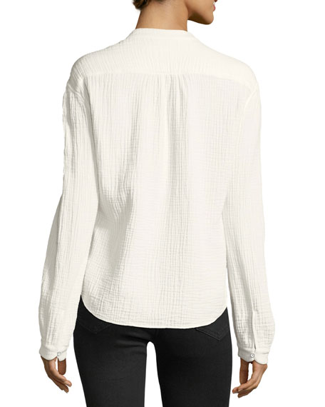Prairie Button-Placket Long-Sleeve Crinkled Cotton Top