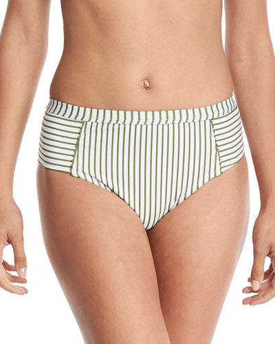 Picturesque High-Waist Striped Swim Bottom