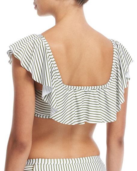 Picturesque Off-the-Shoulder Bandeau Striped Swim Top