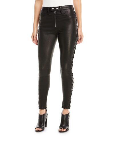 Kiku Leather Side-Lace-Up Skinny Pants