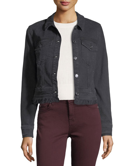 7 For All Mankind Cropped Button-Front Denim Jacket