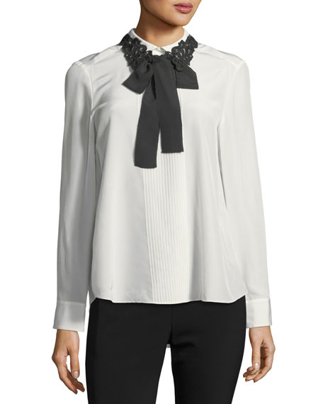 lace collar silk self-tie bow shirt