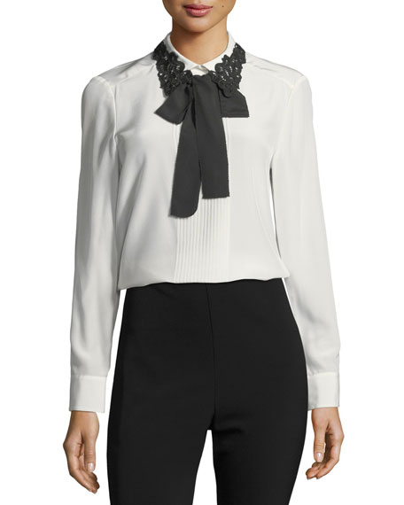 kate spade new york lace collar silk self-tie