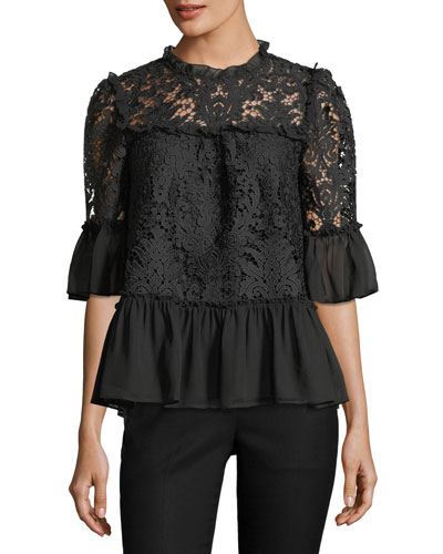 tapestry lace bell-sleeve peplum top