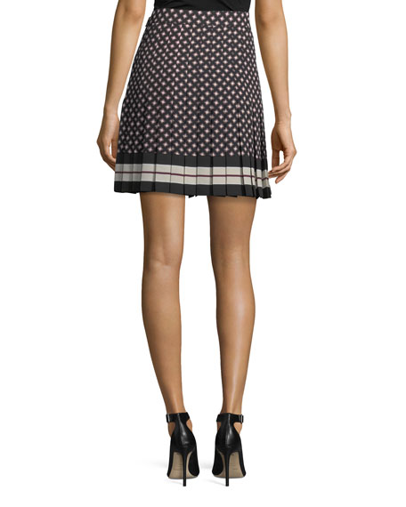 diamond pleated mini skirt