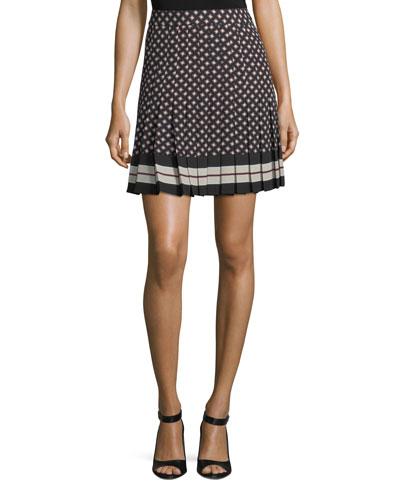 diamond pleated mini skirt