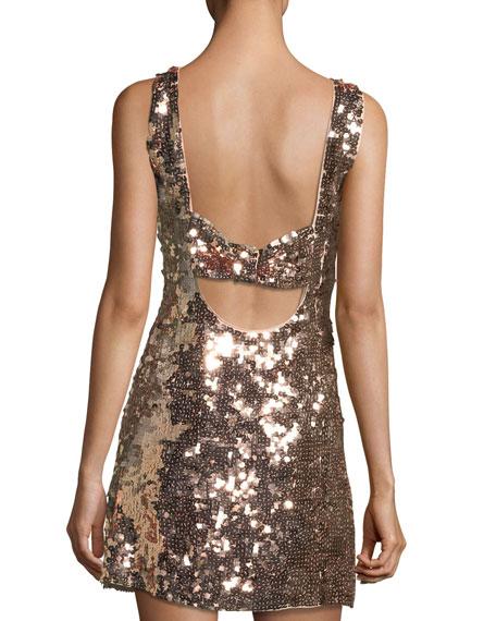 sequin open-back bow mini dress