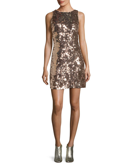 sequin open-back bow mini dress
