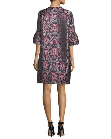 tapestry bell-cuff jacquard coat