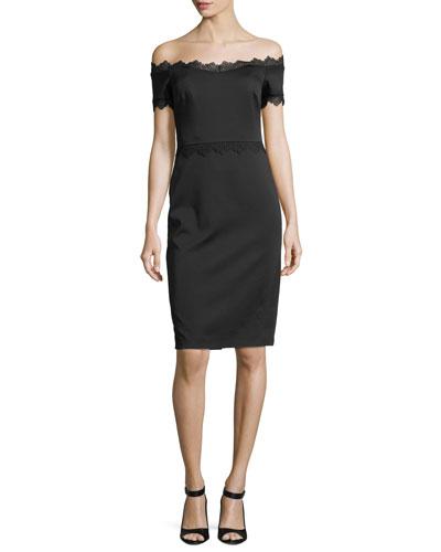 Lace-Trim Off-the-Shoulder Cocktail Dress