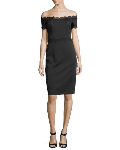 Badgley Mischka Lace-Trim Off-the-Shoulder Cocktail Dress