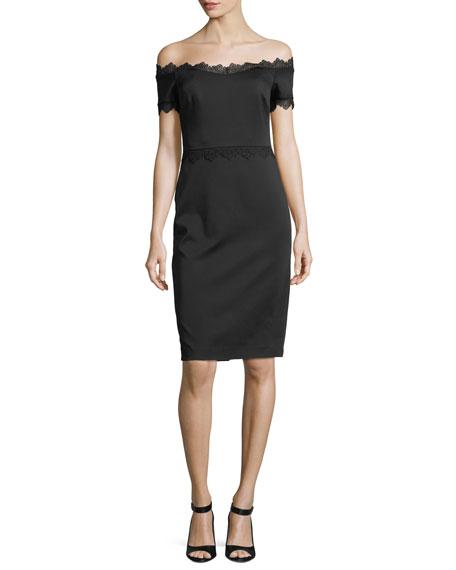 Badgley Mischka Lace-Trim Off-the-Shoulder Cocktail Dress