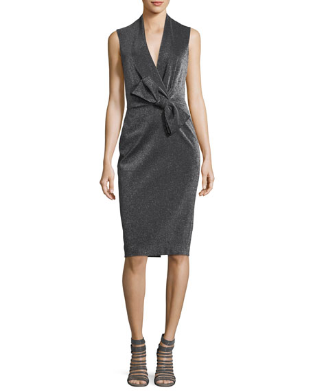 Badgley Mischka Asymmetric Bow Wrap Cocktail Dress