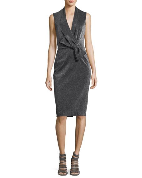 Badgley Mischka Asymmetric Bow Wrap Cocktail Dress