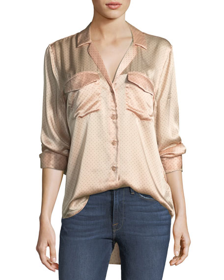 Equipment Ansley Button-Front Long-Sleeve Silk Charmeuse Blouse