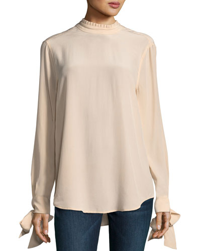 Aurora Pleated Mock-Neck Tie-Sleeve Top