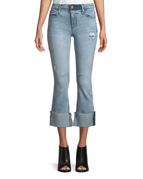 RtA Duchess Mid-Rise Flared-Leg Jeans with Cuff