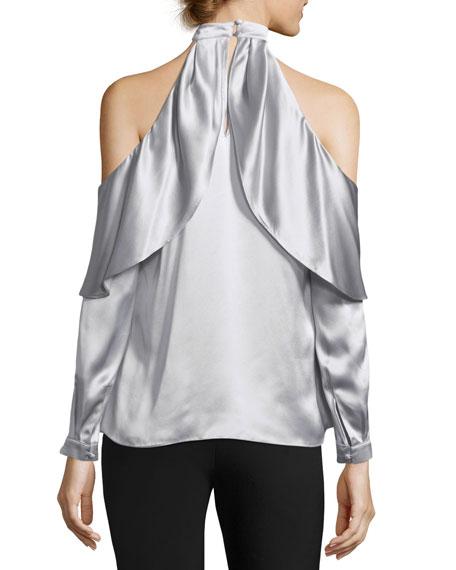 Sonelle Mock-Neck Cold-Shoulder Silk Satin Blouse