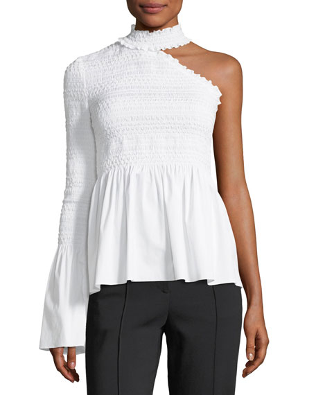 A.L.C. Cossette Mock-Neck One-Shoulder Smocked Poplin Blouse