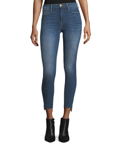FRAME Le High Skinny-Leg Raw-Edge Stagger-Hem Jeans