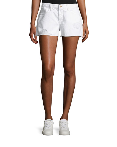 FRAME Le Grand Garcon Cut-Off Denim Shorts