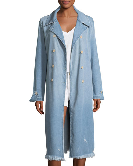 FRAME Le Denim Double-Breasted Trench Coat