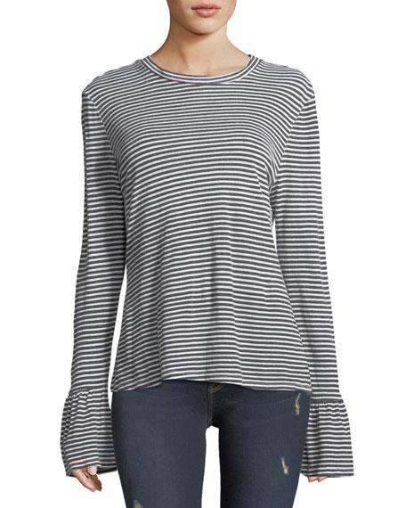 Fine-Stripe Long-Sleeve Linen Top