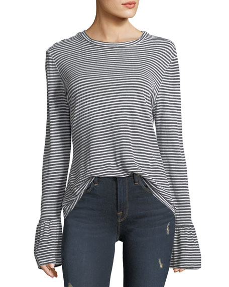 FRAME Fine-Stripe Long-Sleeve Linen Top