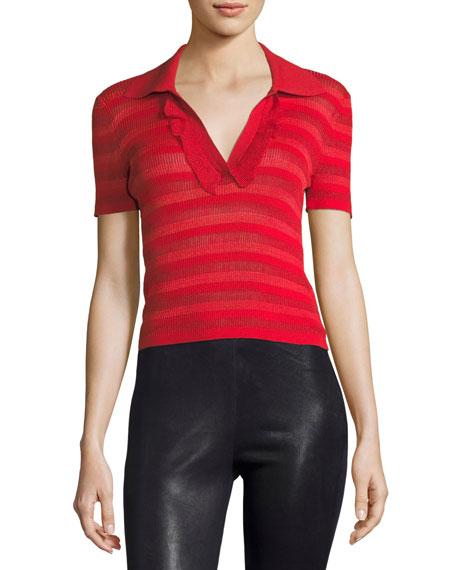 Alice + Olivia Martha Ruffle-Placket Crop Polo Shirt
