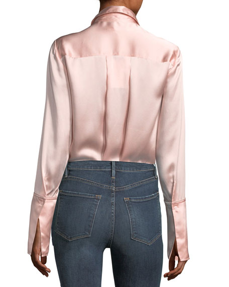 Button-Front Silk Satin Blouse