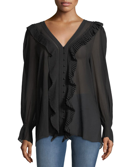 FRAME V-Neck Button-Front Feminine Silk Blouse with Pleated