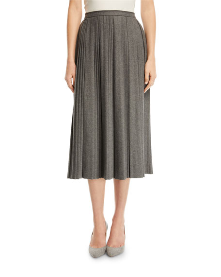 REDValentino Stretch-Flannel Midi Skirt with Interrupted Pleats