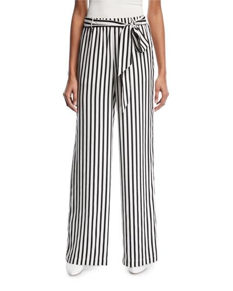 Wide-Leg Striped Silk Easy Pants
