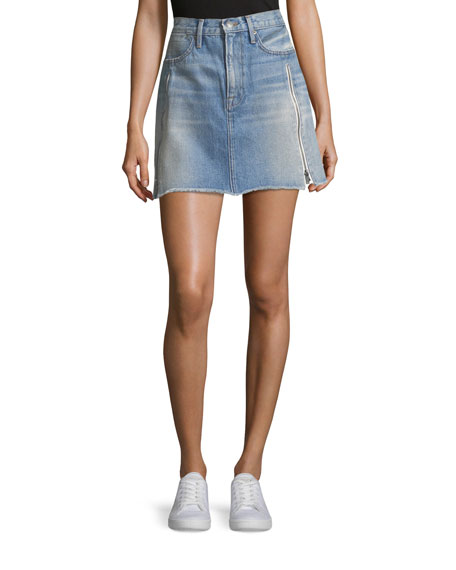 Le High A-Line Denim Skirt with Zipper Inserts