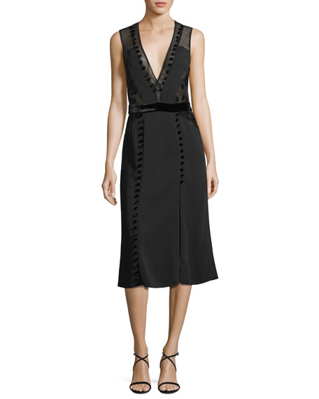 Harlow Plunging Sleeveless A-line Dress w/ Lace