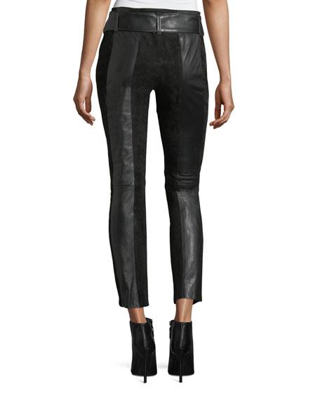 Paneled Suede & Leather Skinny-Leg Pants