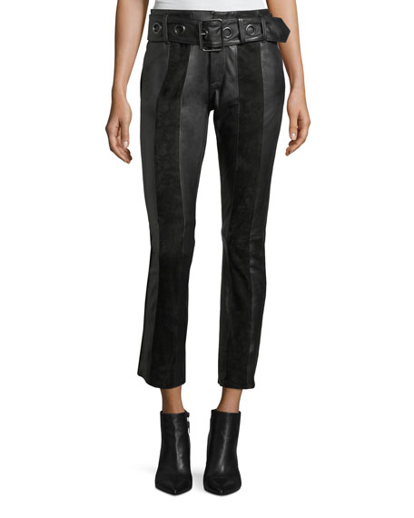 Paneled Suede & Leather Skinny Pants