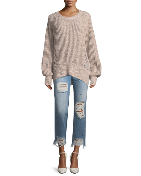 Josefina High-Rise Straight-Leg Distressed Studded Jeans