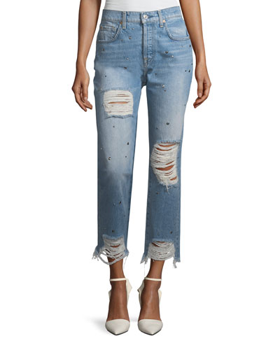 Josefina High-Rise Straight-Leg Distressed Studded Jeans