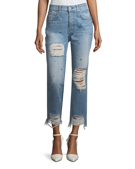 7 For All Mankind Josefina High-Rise Straight-Leg Distressed