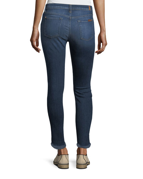 Ankle Skinny Jeans with Destroy and Scalloped Hem