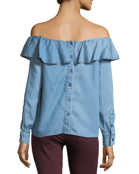 Off-the-Shoulder Ruffle Chambray Top