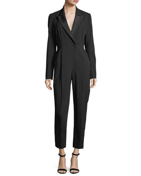 A.L.C. Kensington One-Button Cutout-Back Skinny-Leg Crepe Jumpsuit