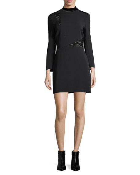 A.L.C. Alix Mock-Neck Long-Sleeve Crepe Mini Dress