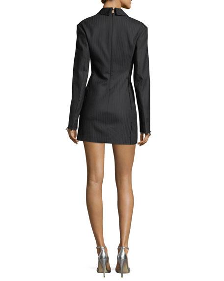 Notched-Lapels Herringbone Blazer Dress