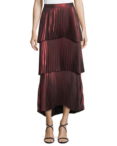 Harley Tiered Pleated Metallic Skirt