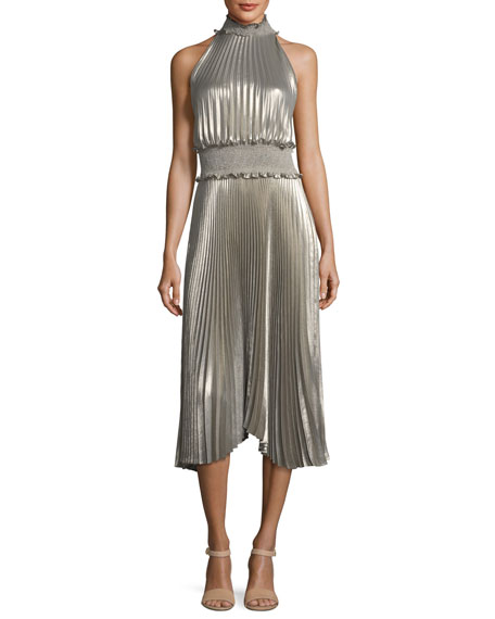 Kravitz High Neck Sleeveless Metallic Pleated Midi Dress by Neiman Marcus